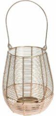 Goudkleurige Merkloos / Sans marque Metalen/rieten lantaarn kaarsenhouder goud 18 x 23 cm - Gouden windlicht - Woonaccessoires/woondecoraties