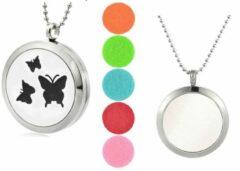 Zilveren Akyol Geurketting Vlinder | Ketting met aromatherapie medaillon | Hanger met vlinder 25mm + Geschenkzakje