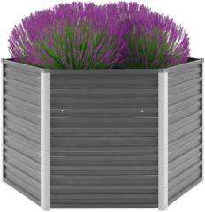 VidaXL Plantenbak verhoogd 129x129x77 cm gegalvaniseerd staal grijs