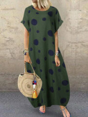 Newchic Polka Dot Print Short Sleeve Plus Size Baggy Dress with Pockets