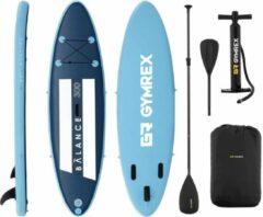 Gymrex Inflatable SUP-bord - 135 kg - blauw / marineblauw - set met peddel en accessoires
