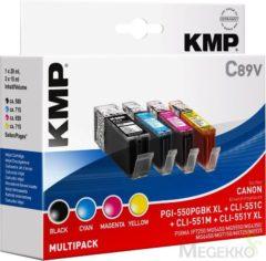 KMP Inkt vervangt Canon PGI-550PGBK XL, CLI-551 C,M,Y XL Compatibel Combipack Zwart, Cyaan, Magenta, Geel C89V 1518,0050