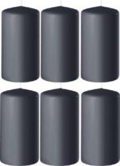 Enlightening Candles 6x Antraciet grijze cilinderkaarsen/stompkaarsen 6 x 12 cm 45 branduren - Geurloze kaarsen antraciet grijs - Woondecoraties