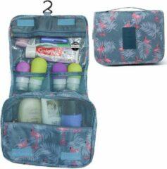 Reismonkey Ophangbare Toilettas met Haak – Blauw/Grijs met Flamingo Print – Travel Bag Organizer voor Dames/Meisje – Hangende Make-up Tas/Cosmetic Bag – Reizen - Cadeau voor Dames/Vrouwen