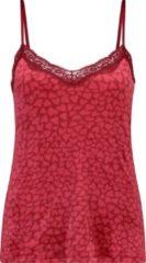 Hunkemöller - Camitop van velours met hartjesprint en kanten randje in rood