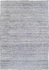 Hioshop Micha vloerkleed handgeweven 160x230 cm, laagpolig zilver.
