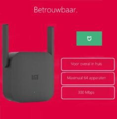 Zwarte Wifi Versterker Stopcontact Draadloos – Xiaomi – 300Mbps - Wifi Repeater