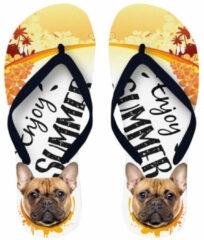 Gele Merkloos / Sans marque Slipper Flip Flop Franse Bulldog maat 37-39