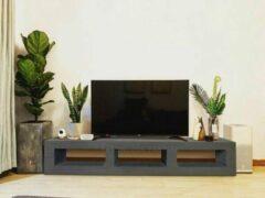 Antraciet-grijze Betonlook TV-Meubel open vakken | Antraciet | 140x40x40 cm (LxBxH) | Betonlook Fabriek | Beton ciré