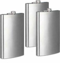 Zilveren Relaxdays 3 x platvink XXL - 1,8 liter - roestvrij staal - heupfles - zakflacon schroefdop