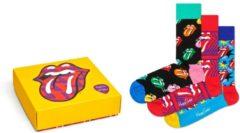 Gele Happy Socks Rolling Stones collector sokken Giftbox - Maat 36-40