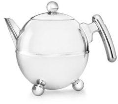 Zilveren Bredemeijer Bella ronde theepot - 1,5 liter - chroom beslag