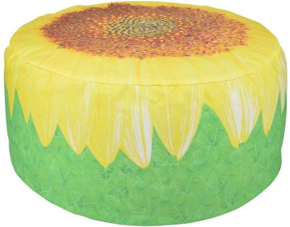 Afbeelding van Groene Tuinpoef zonnebloem - hoes afneembaar - waterbestendig - Esschert Design
