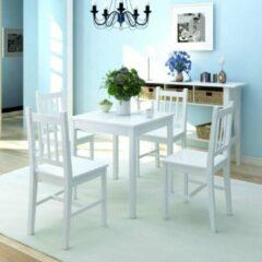 Witte Merkloos / Sans marque Complete Eettafel set 5 delig Dennenhout (Incl Houten Dienblad) - Eet tafel + 4 Eetstoelen - DIneertafel - Eettafelstoelen - Eetkamerstoelen - Eethoek 4 persoons