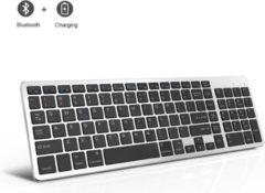 Zilveren A-Konic Toetsenbord Draadloos | Universeel keyboard Qwerty | Bluetooth 3.0 | + Numeriek | PC/Laptop/Tablet| Geschikt voor voor o.a. Apple Macbook Pro/Air | Dell XPS | Lenovo | Microsoft Surface | IOS | Windows | HP | Ipad | Laptop Iron Grey / Zwa