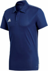 Blauwe Adidas Core 18 Polo Heren Sportpolo - Maat S - Mannen - blauw/wit