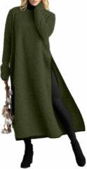 Groene VONDA Solid Color Splited Casual Dress