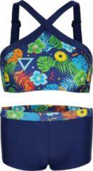 Marineblauwe La V Bikini hipster broekje en crop top met brede bandje Tropical flowers 128-134