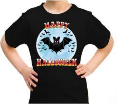 Bellatio Decorations Happy Halloween vleermuis verkleed t-shirt zwart voor kinderen - horror vleermuis shirt / kleding / kostuum M (134-140)