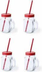 Bellatio Design 6x stuks Glazen Mason Jar drinkbekers rode dop en rietje 500 ml - afsluitbaar/niet lekken/fruit shakes