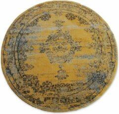 Vintage Vloerkleed Bloom rond - Geel - EVA Interior-[Afmetingen:235 cm]-[Afmetingen:235 cm]