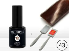 Awesome #43 Cat-Eye Chique Warm Bruin Magneet - Magnetic Gelpolish incl. Cat-Eye Magneet Stick- Gellak - Gel nagellak - UV & LED