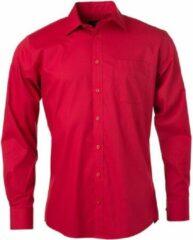 James & Nicholson James and Nicholson Heren Longsleeve Poplin Shirt (Rood)