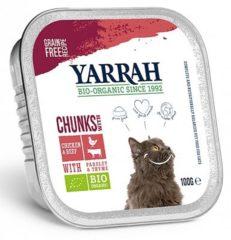 Yarrah brokjes in saus biologische kip en rund, kuipje - 16x 100 gr