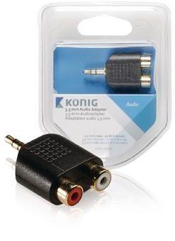 Afbeelding van Zwarte König 3.5 mm audio adapter 3.5 mm male - 2x RCA female 1 pc grey
