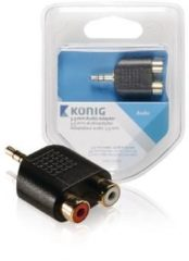 Zwarte König 3.5 mm audio adapter 3.5 mm male - 2x RCA female 1 pc grey