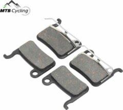 MTB Cycling A01S standaard remblokken set 4 stuks voor + achter voor o.a. Shimano SLX / ST / XTR / Formula / Tektro / BBS-54T - inclusief schijfremblokveer - Zwart