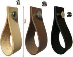 Wood, Tools & Deco Set van 4 leren handgrepen, lussen, voor meubels, zwart