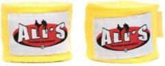 Ali's Fightgear 1 paar gele kleur 460 cm lang bandage-bandages voor boxing-boksen-kickboksen-muaythai-mma-thaiboksen