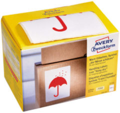Witte Waarschuwings Etiket Avery 'Keep Dry' Op Rol In Dispenser 74x100mm