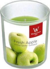 Groene Trend Candles 1x Geurkaars appel in glazen houder 25 branduren - Geurkaarsen appel geur - Woondecoraties