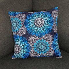 Afabs Afrikaans kussen | Blauwe kristal bloemen - Sierkussen 45x45 - 100% Katoen | Sierkussens 45x45 Kussenhoes | Binnenkussen 45 x 45 | Tribal kussen | African pillow
