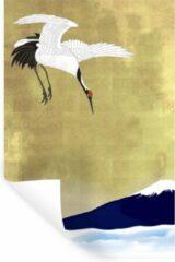 StickerSnake Muursticker Chinese kraanvogel illustratie - Illustratie van een Chinese kraanvogel boven de zee - 80x120 cm - zelfklevend plakfolie - herpositioneerbare muur sticker