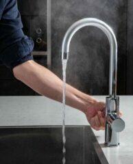 ACE CHROOM 3 in 1 kokend water kraan C-uitloop Met boiler: 4,4L inclusief mengventiel en S12 waterontharder