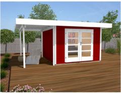 Weka tuinhuis met overkapping 126 Type A GR1 rood 240x500cm