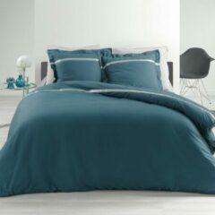 Blauwe DecoToday Dekbedovertrek Uni Stripe 240 cm x 220 cm