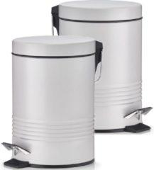 2x Grijze vuilnisbakken/pedaalemmers 3 liter van 17 x 25 cm - Zeller - Huishouding - Badkameraccessoires/benodigdheden - Toiletaccessoires/benodigdheden - Kleine prullenbakken