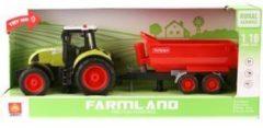 Wenyi Farmland Tractor + Aanhanger met Licht en Geluid 1:16 Rood