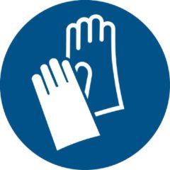 Blauwe Tarifold Pictogram bordje Veiligheidshandschoenen verplicht | Ø 200 mm - verpakt per 2 stuks