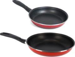 Gerim 2x formaten koekenpannen set rood Merida - 24 en 30 cm diameter - Braadpannen/bakpannen