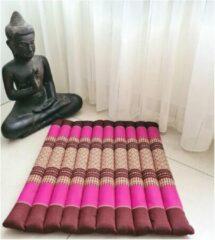 DeSfeerbrenger Meditatiemat – Yogamat – meditatiemat vierkant - Vierkant matje – Thais matje – 50x50x4 cm - Roze