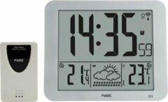 Fysic FKW-2500 Jumbo klok (24,5 x 20,5 cm) met weerstation - Wekker en weerstation - Zilver / Zwart