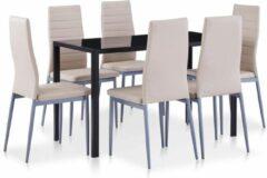 Creme witte Merkloos / Sans marque Complete Eettafel set Beige Creme 7 delig met glazen tafel (Incl Dienblad) - Eet tafel + 6 Eetstoelen - DIneertafel - Eettafelstoelen - Eetkamerstoelen - Eethoek 6 persoons