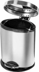 Zilveren Artmoon Robuuste RVS Pedaalemmer - Metalen Mini Trash Can Vuilnis Bak - 12 Liter