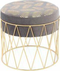 Design Fluweel Hocker Cleopatra Grijs / Goud - 40x40x37CM