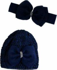 Donkerblauwe Jessidress Baby Haarband met Muts gedecoreerd met luxe Haarstrik - Donker Blauw